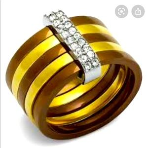 Covet metal ring pave cubiczirconia bar NWT